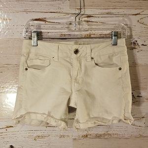 AEO midi white jean shorts